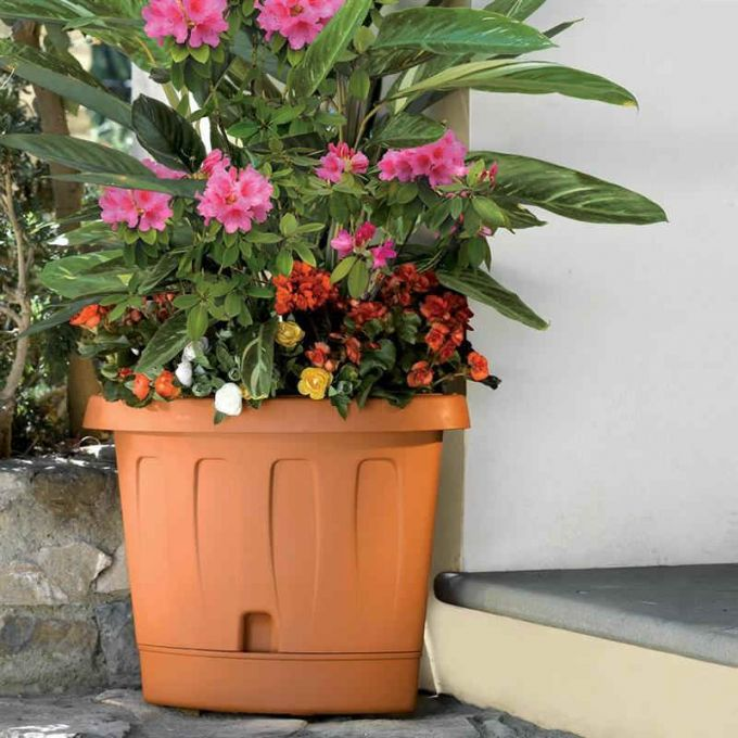 BAMA ITALY Γλάστρα Βαρέως Τύπου Γωνία 40x54x45cm Κεραμιδί Αυτοποτιζόμενη με Πιάτο VICTORIA CORNER