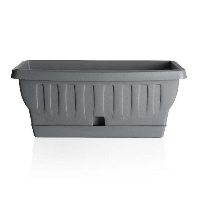 BAMA ITALY Ζαρντινιέρα Decor 30cm/40cm/50cm με Αυτοποτιζόμενο Πιάτο Πλαστική Γκρι Σκούρο NATURA