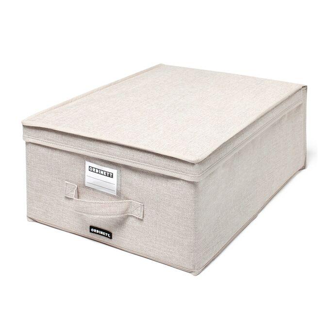ORDINETT ITALY Κουτί Αποθήκευσης Ρούχων 40x50x25cm Πολυεστέρας 50lt 1.23kg BOX LARGE LINETTE Μπεζ