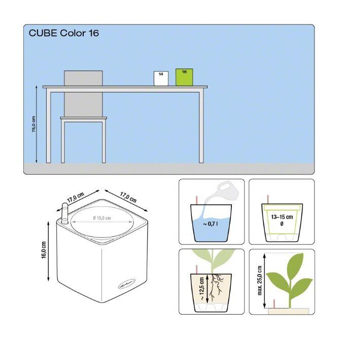 LECHUZA Cube Color16 Επιτραπέζια Γλάστρα 17x17x16cm Αυτοποτιζόμενη με Δοχείο ΑΝΘΡΑΚΙ Γερμανίας RedDot Award 2014German Design Award 2016