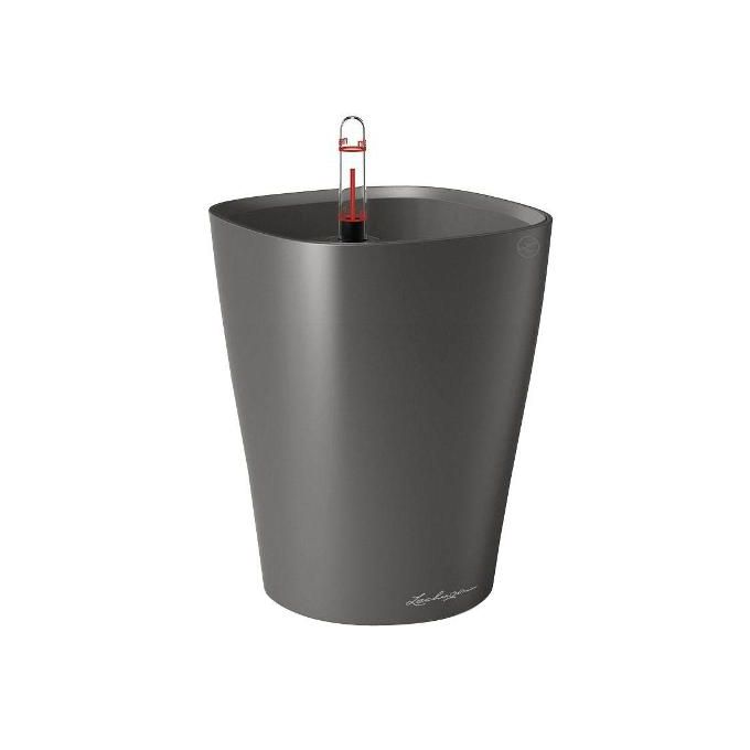 LECHUZA Mini Deltini Επιτραπέζια Γλάστρα 10x10x13cm Αυτοποτιζόμενη με Δοχείο Φύτευσης ΑΝΘΡΑΚΙ Γερμανίας iF Product Design Award 2012