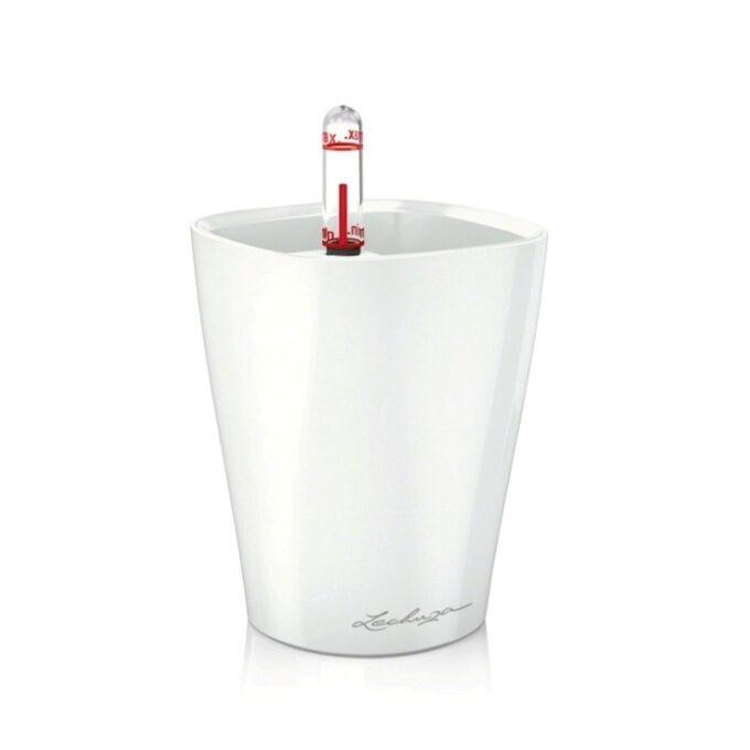 LECHUZA Mini Deltini Επιτραπέζια Γλάστρα 10x10x13cm Αυτοποτιζόμενη με Δοχείο Φύτευσης ΛΕΥΚΗ Γερμανίας iF Product Design Award 2012