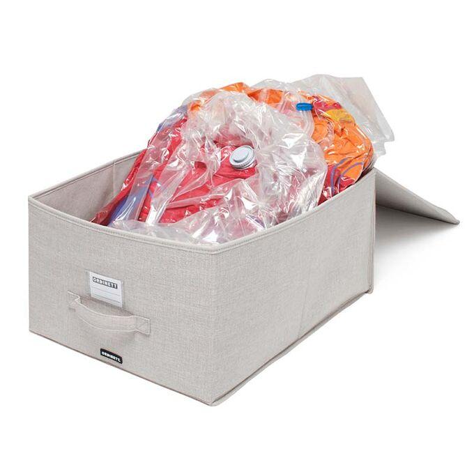 ORDINETT ITALY Κουτί Αποθήκευσης Ρούχων 40x50x25cm Πολυεστέρας 50lt 1.42kg με Σακούλα Κενού Αέρος 80x40x100cm Κέρδος Όγκου έως 75% VACUUM BOX Μπεζ