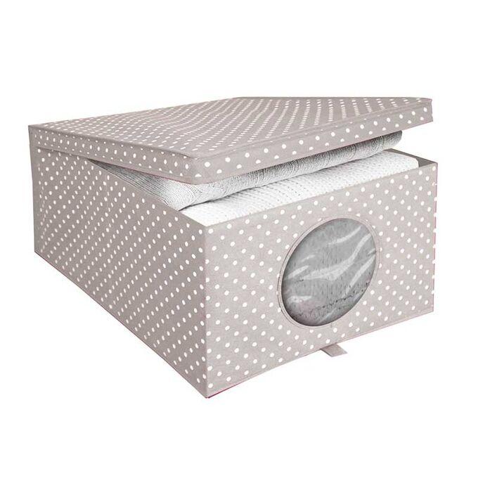 ORDINETT ITALY Κουτί Αποθήκευσης Ρούχων 50x40x25cm TNT 50lt 1.09kg CAMARGUE BOX LARGE Μπεζ Πουά