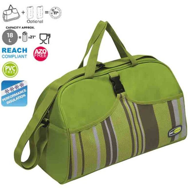 GIOSTYLE ITALY Ισοθερμική Τσάντα 41.5x20.5x25cm Πάχος 6mm 18lt Πολυεστέρας 600D MAX Απόδοση 11 Ώρες Πιστοποιήσεις Azo FREE/REACH CAPRICE BEACH Πράσινη