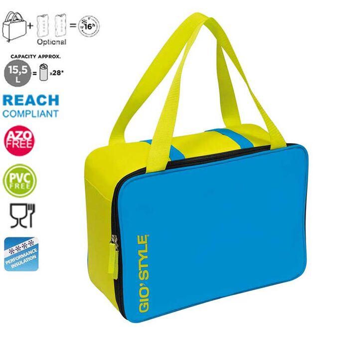 GIOSTYLE ITALY Ισοθερμική Τσάντα 36x15x26cm Πάχος 6mm 15.5lt Πολυεστέρας 300D MAX Απόδοση 16 Ώρες Πιστοποιήσεις Azo FREE/REACH LIME COOLBAG Μπλε-Κίτρινο