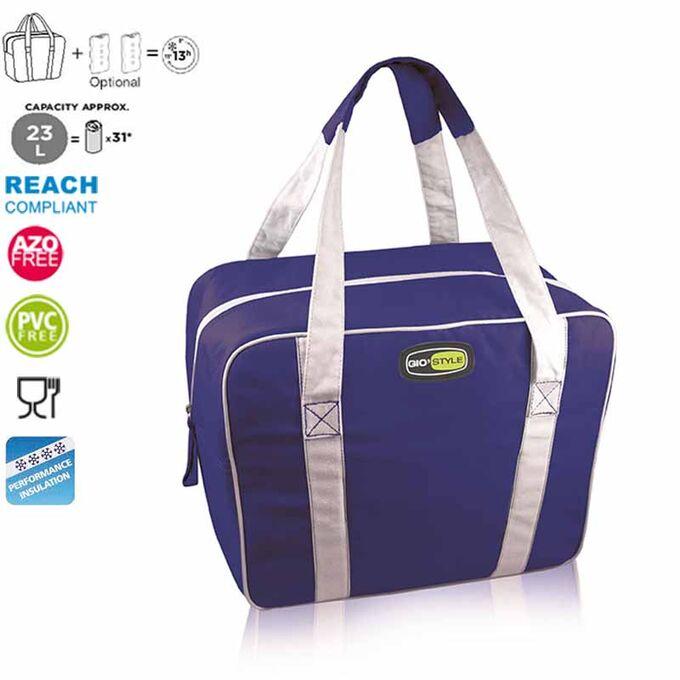 GIOSTYLE ITALY Ισοθερμική Τσάντα 38x16x30cm Πάχος 6mm 23lt Πολυεστέρας 300D MAX Απόδοση 13 Ώρες Πιστοποιήσεις Azo FREE/REACH EVO MEDIUM Μπλε
