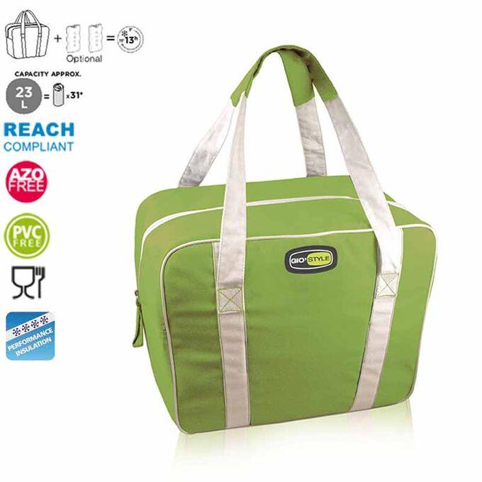 GIOSTYLE ITALY Ισοθερμική Τσάντα 38x16x30cm Πάχος 6mm 23lt Πολυεστέρας 300D MAX Απόδοση 13 Ώρες Πιστοποιήσεις Azo FREE/REACH EVO MEDIUM Πράσινο