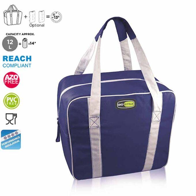 GIOSTYLE ITALY Ισοθερμική Τσάντα 34x12x24cm Πάχος 6mm 12lt Πολυεστέρας 300D MAX Απόδοση 13 Ώρες Πιστοποιήσεις Azo FREE/REACH EVO SMALL Μπλε