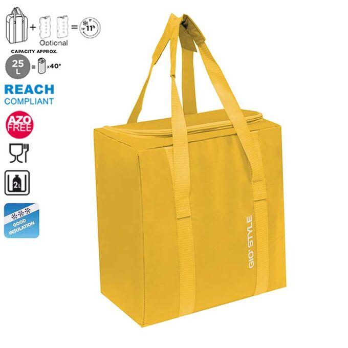 GIOSTYLE ITALY Ισοθερμική Τσάντα 32.5x21x34.5cm Πάχος 5mm 25lt Πολυεστέρας 70D MAX Απόδοση 11 Ώρες Πιστοποιήσεις Azo FREE/REACH FIESTA VERTICAL Κίτρινο