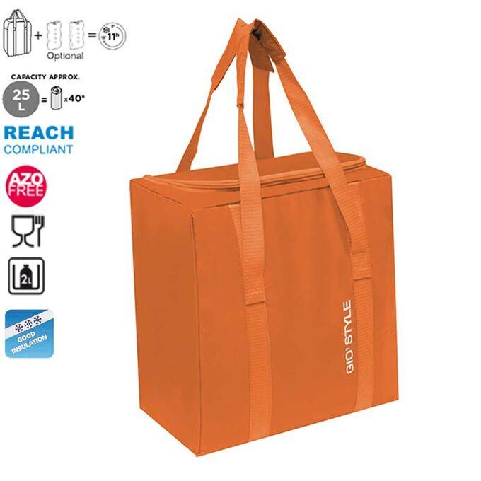 GIOSTYLE ITALY Ισοθερμική Τσάντα 32.5x21x34.5cm Πάχος 5mm 25lt Πολυεστέρας 70D MAX Απόδοση 11 Ώρες Πιστοποιήσεις Azo FREE/REACH FIESTA VERTICAL Πορτοκαλί