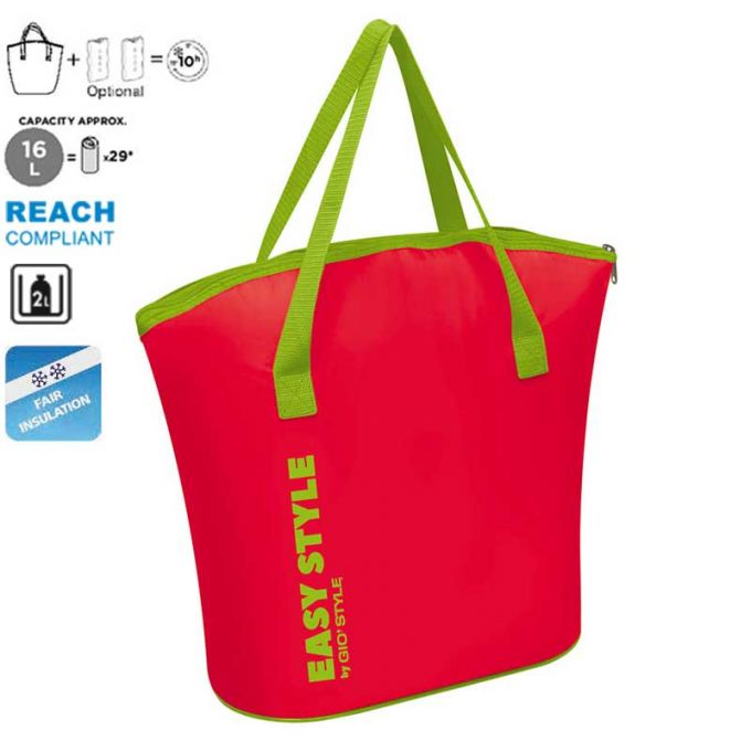GIOSTYLE ITALY Ισοθερμική Τσάντα 41.5x17.5x38.5cm Πάχος 4mm 16lt Πολυεστέρας 70D MAX Απόδοση 10 Ώρες Πιστοποίηση REACH S-BAG Φούξια-Πράσινο