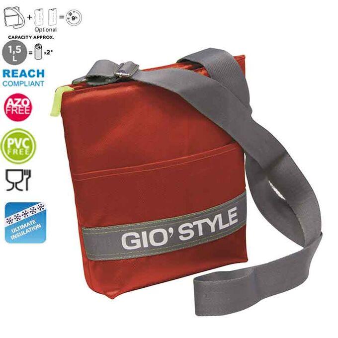 GIOSTYLE ITALY Ισοθερμική Τσάντα Ώμου 20x5.5x26cm Πάχος 10mm 1.5lt  Πολυεστέρας 420D MAX Απόδοση 9 Ώρες Πιστοποιήσεις Azo FREE/REACH SHOULDER BAG VELA Κόκκινη