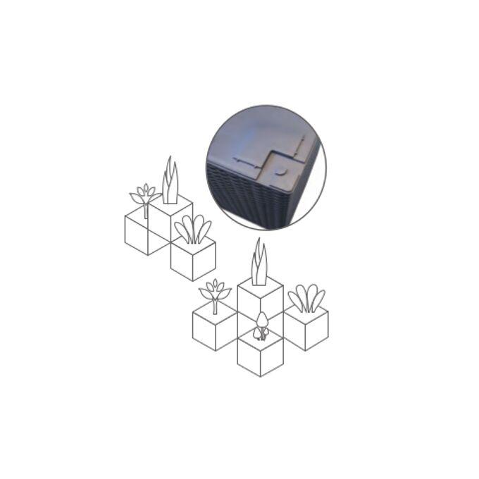 PLASTONA Caspo Γλάστρα 36x36x36cm/42lt NATURA CUBE με Πλεκτή Όψη ΓΚΡΙ/ΚΑΦΕ