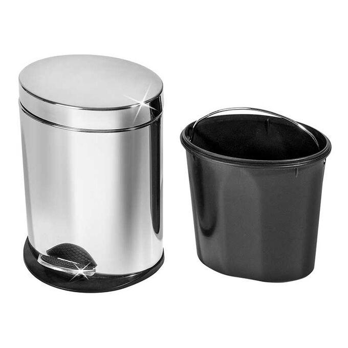 Κάδος Απορριμάτων με Πεντάλ INOX Γυαλιστερό 23x22x30.5cm 5lt Βάρος 1.23kg σε Σχήμα Οβάλ VESTA