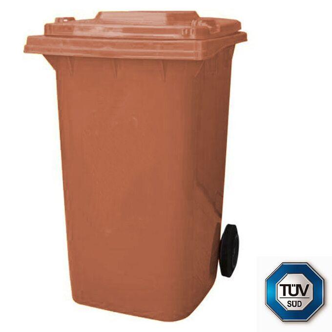 Κάδος Σκουπιδιών με Ρόδες 120lt 55x50x95cm Πλαστικός ΒΑΡΕΟΥ ΤΥΠΟΥ 10kg με Χειρολαβή Επαγγελματικός/Κήπου Καφέ ICS Ιταλίας