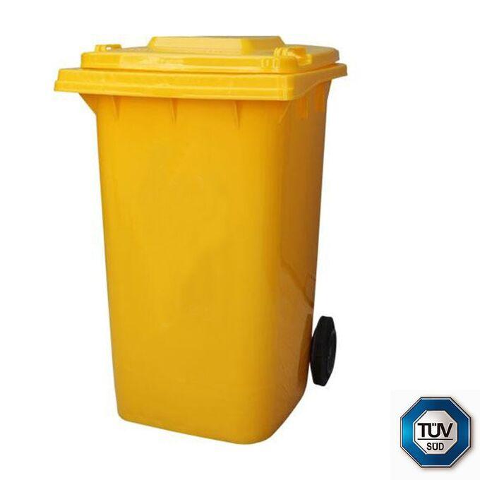 Κάδος Απορριμμάτων με Ρόδες 120lt 55x50x95cm Πλαστικός ΒΑΡΕΟΥ ΤΥΠΟΥ 10kg με Χειρολαβή Επαγγελματικός/Κήπου Κίτρινος ICS Ιταλίας