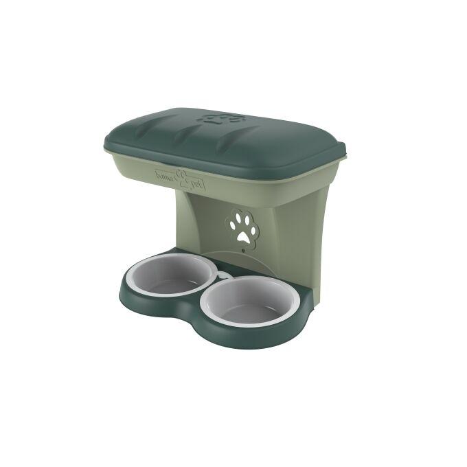 Ταΐστρα-Ποτίστρα Σκύλων 2σε1 50x29x52cm Πράσινο-Κυπαρισσί BAMA Ιταλίας