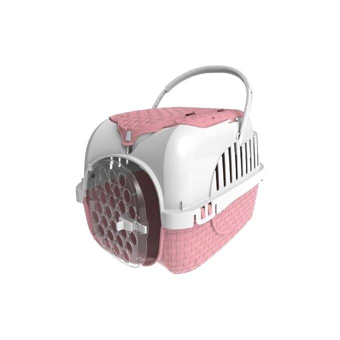 Κλουβί Μεταφοράς Κατοικιδίου 59x38x37cm με Χώρο Αποθήκευσης και Υποδοχές για Ιμάντες Πρόσδεσης σε Κάθισμα Ροζ-Λευκό MAXY TOUR BAMA Ιταλίας