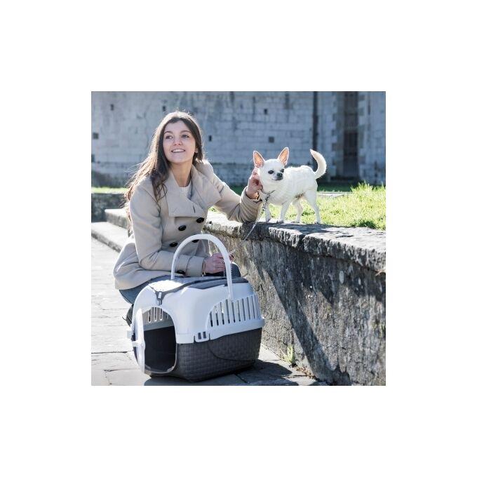 Κλουβί Μεταφοράς Κατοικιδίου 59x38x37cm με Χώρο Αποθήκευσης και Υποδοχές για Ιμάντες Πρόσδεσης σε Κάθισμα Καφέ-Λευκό MAXY TOUR BAMA Ιταλίας