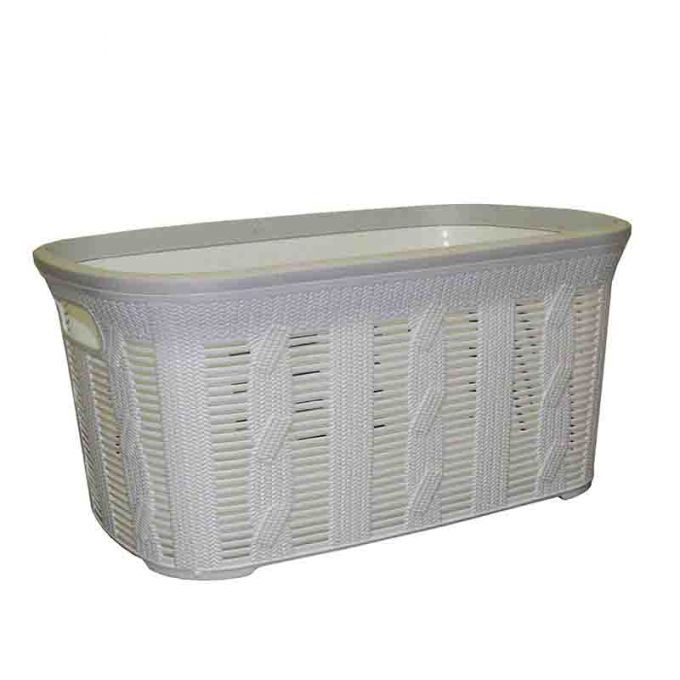 Καλάθι Ρούχων 54.5x35x26cm 40lt Πλαστικό με Σχέδιο Πλεξούδα Λευκό