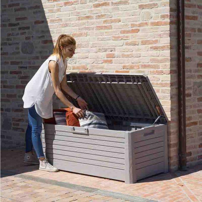 TOOMAX ITALY Πλαστικό Μπαούλο 148x72x60cm 550lt 22.5kg Massif Καπάκι-Κάθισμα 2 Ατόμων FLORIDA WARM GREY