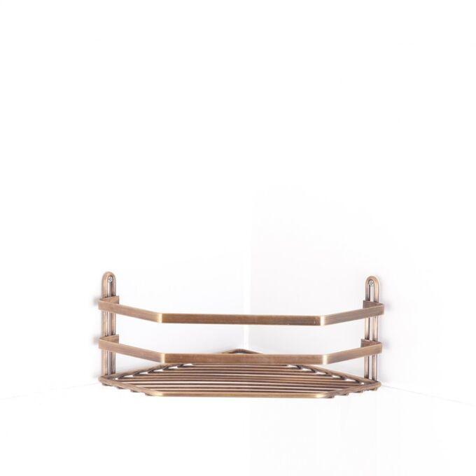 TEKNO-TEL Γωνιακή Ραφιέρα Μπάνιου 27.5x20x11cm Πάχος Ø5mm Επιχρωμιωμένο Ατσάλι Μπρονζέ ANTIQUE