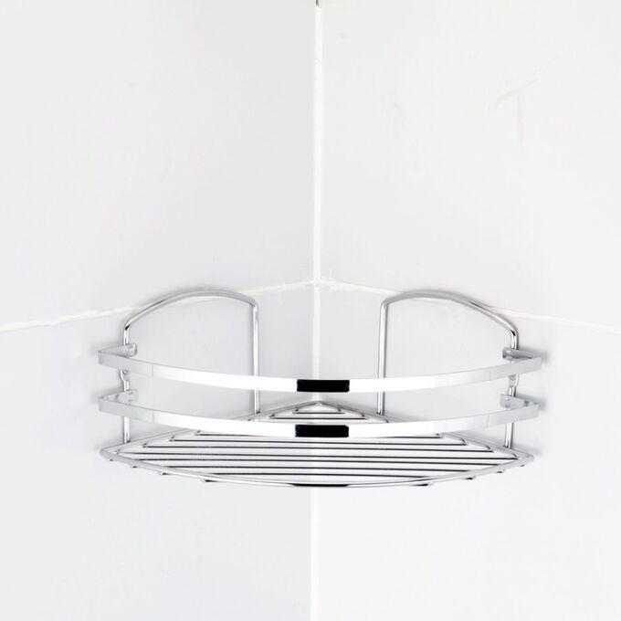 TEKNO-TEL Γωνιακή Ραφιέρα Μπάνιου Τοίχου 32x24x10cm Πάχος Ø5mm Επιχρωμιωμένο Ατσάλι