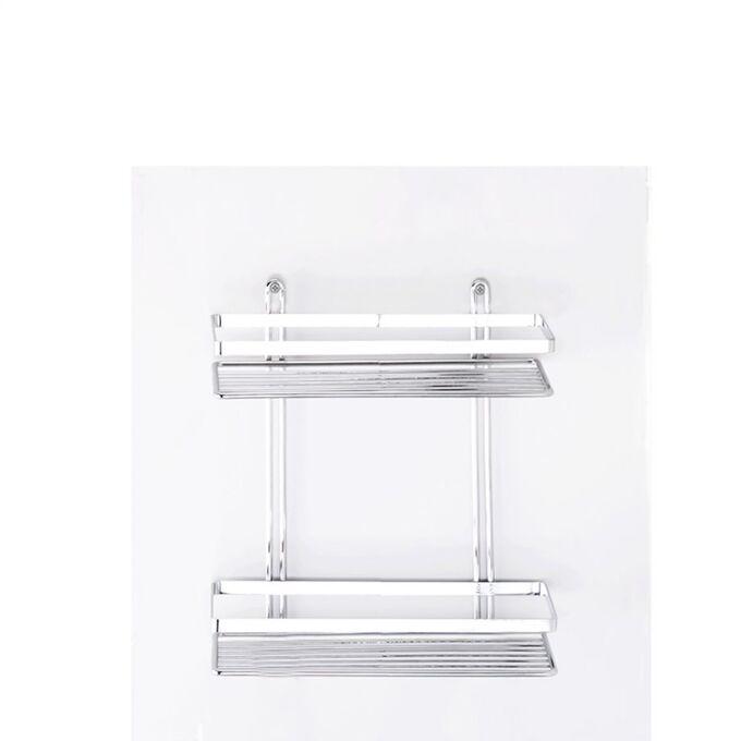 TEKNO-TEL Ραφιέρα Μπάνιου Τοίχου 2όροφη Μπάνιου 25x12x27cm Πάχος Ø5mm Επιχρωμιωμένο Ατσάλι