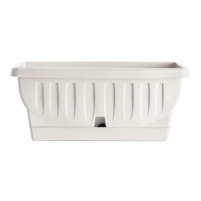 BAMA ITALY Ζαρντινιέρα Decor 30cm/40cm/50cm/60cm/80cm με Αυτοποτιζόμενο Πιάτο Πλαστική Λευκή NATURA