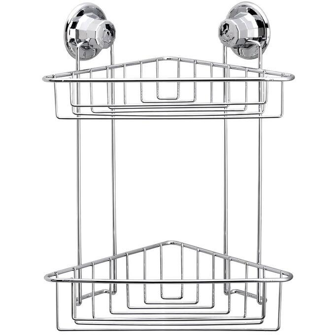 TEKNO-TEL Γωνιακή Ραφιέρα Μπάνιου 2όροφη 29.5x16.5x39cm Πάχος 7mm Αντοχή 12kg Επιχρωμιωμένο Ατσάλι με Βεντούζα EXTRA STRONG