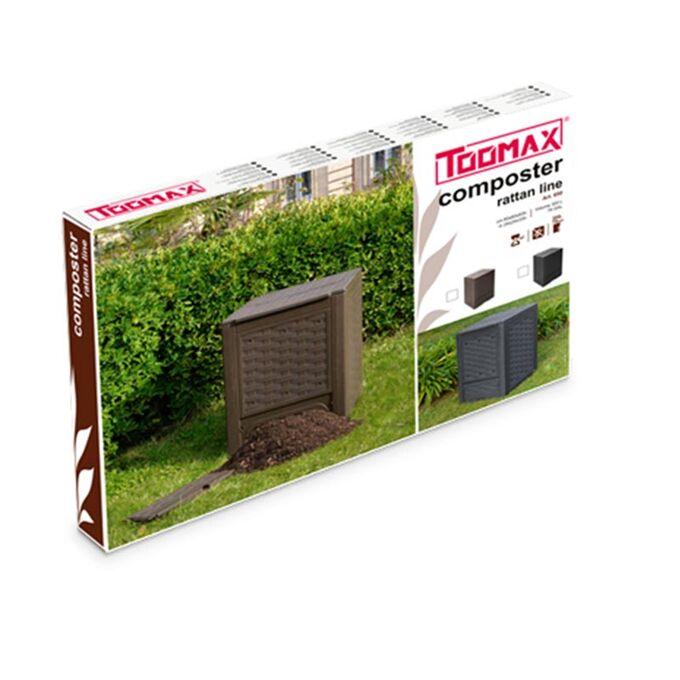 TOOMAX FASHION ITALY 300lt Κομποστοποιητής-Κάδος Κομποστοποίησης Πλαστικός Κήπου 60x60x83cm Καφέ Σκούρο RATTAN STYLE COMPOSTER