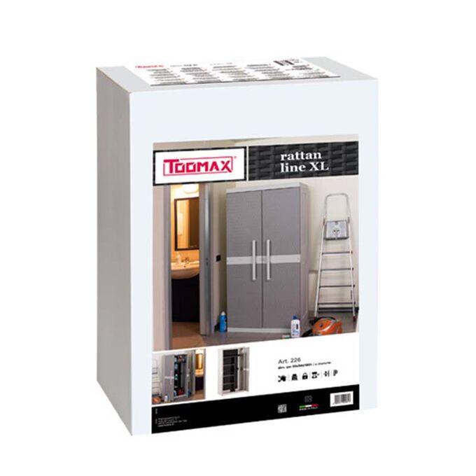 TOOMAX FASHION ITALY XXL Πλαστική Ντουλάπα 89x54x190cm 29kg με Χώρισμα-6 Χώρους MAX Αντοχή 220kg RATTAN XXL GREY/WARM GREY TUV/GS