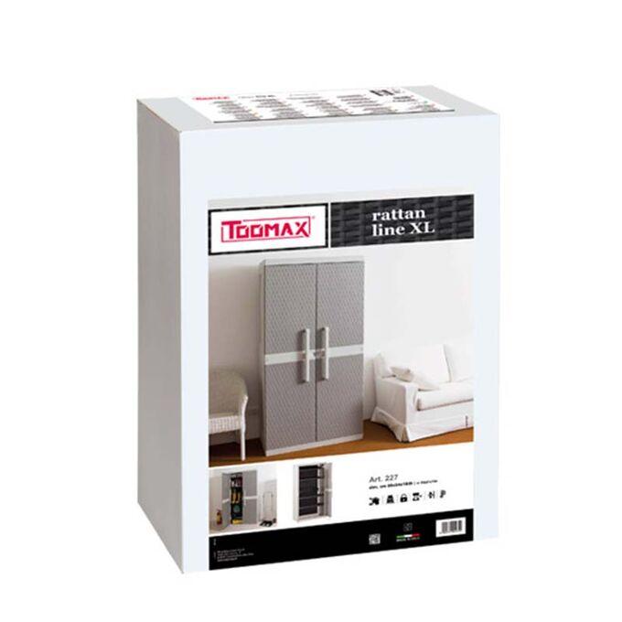 TOOMAX FASHION ITALY Πλαστική Ντουλάπα 89x54x190cm 29kg με 4 Ρυθμιζόμενα Ράφια- 5 Χώρους Αντοχή Ραφιού 50kg GREY/WARN GREY RATTAN XL LINE