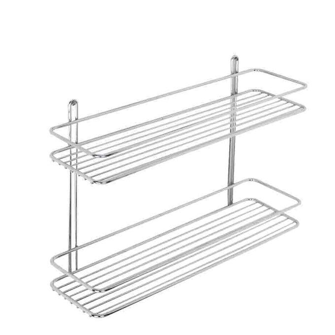 TEKNO-TEL Ραφιέρα Μπάνιου Τοίχου 2όροφη Μπάνιου 40x11x28cm Πάχος Ø5mm Επιχρωμιωμένο Ατσάλι