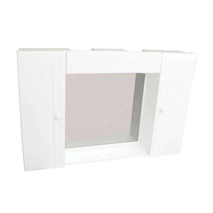 Ερμάριο/Ντουλάπι Έπιπλο Μπάνιου 68x46cm με Καθρέπτη Πλαφονιέρα και 2 Ντουλάπια-5 Αποθηκευτικούς Χώρους 4.6kg Πλαστικό Λευκό Ελλάδας