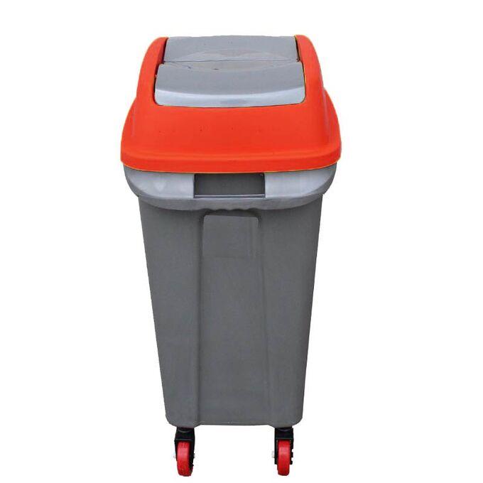 Κάδος Απορριμάτων 50lt 44x31x71cm 2.5kg Πλαστικός Επαγγελματικός/Οικιακός με Παλλόμενο Άνοιγμα και 4 Ρόδες Γκρι-Κόκκινο