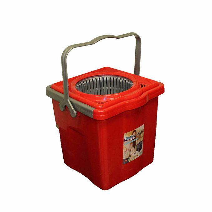 SPIN MOP TELESCOPIC Περιστρεφόμενος Κουβάς Σφουγγαρίσματος Πτυσσόμενος 9lt 29x28x27cm 2.42kg + Κοντάρι και Αποσπώμενο Δοχείο Στράγγισης Κόκκινο