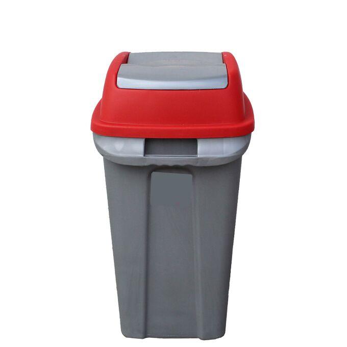 Κάδος Απορριμάτων 70lt 47x35x70cm 2.5kg Πλαστικός Επαγγελματικός/Οικιακός με Παλλόμενο Άνοιγμα Γκρι-Κόκκινο