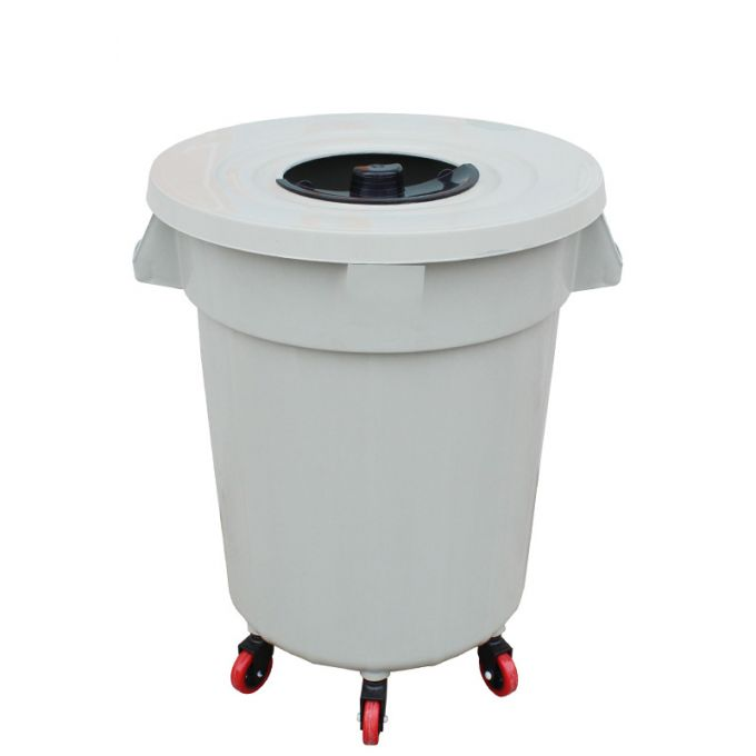 Κάδος Απορριμάτων 120lt Ø56x77cm Επαγγελματικός Πλαστικός με Καπάκι + Ημικυκλική Θυρίδα Απορριμάτων και 6 Ρόδες 360° 4.3kg Λευκό Πάγου