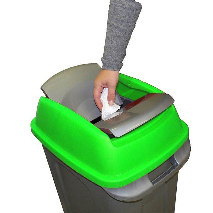 Κάδος Απορριμάτων 70lt 47x35x77cm 3kg Πλαστικός Επαγγελματικός/Οικιακός με Παλλόμενο Άνοιγμα και 4 Ρόδες Γκρι-Πράσινο