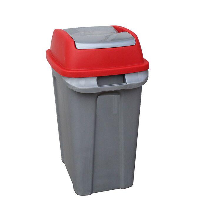 Κάδος Απορριμάτων 50lt 44x31x64cm 2kg Πλαστικός Επαγγελματικός/Οικιακός με Παλλόμενο Άνοιγμα Γκρι-Κόκκινο