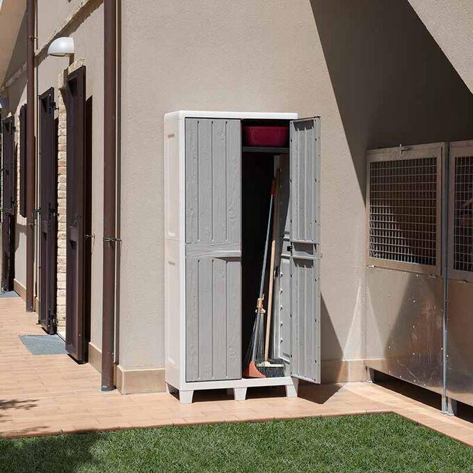 TOOMAX FASHION ITALY XL Πλαστική Ντουλάπα 78x46x182cm 100% Στεγανή Εξωτερικών Χώρων 16.2kg με Χώρισμα-5 Χώροι MAX Αντοχή 90kg FLORIDA XL GREY-WARM GREY TUV/GS