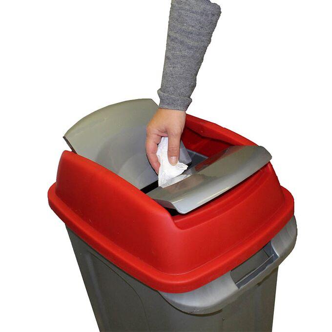 Κάδος Σκουπιδιών 70lt 47x35x77cm 3kg Πλαστικός Επαγγελματικός/Οικιακός με Παλλόμενο Άνοιγμα και 4 Ρόδες Γκρι-Κόκκινο