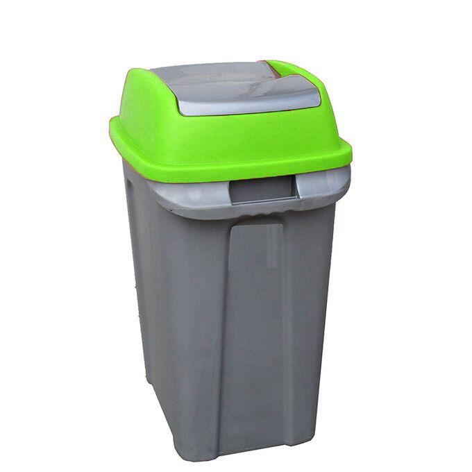 Κάδος Απορριμάτων 70lt 47x35x70cm 2.5kg Πλαστικός Επαγγελματικός/Οικιακός με Παλλόμενο Άνοιγμα Γκρι-Πράσινο