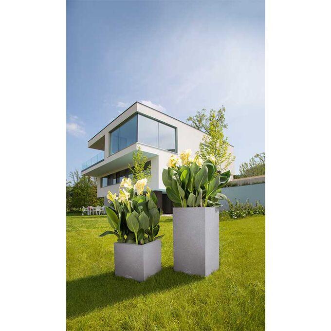 LECHUZA Canto Color Στήλη 40 Επιδαπέδια Γλάστρα 40x40x76cm Αυτοποτιζόμενη με Δοχείο ΓΚΡΙ Όψη Φυσική Πέτρα Γερμανίας