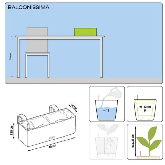 LECHUZA Balconissima Color Ζαρντινιέρα-Κασπώ 40x14x13.5cm Αυτοποτιζόμενη με Εσωτερικό Δοχείο Ανθρακί Γερμανίας