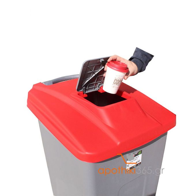 Κάδος Απορριμάτων 100lt 60x50x82cm Πλαστικός 5.8kg με Ρόδες Πεντάλ και Μικρό Ανοιγόμενο Καπάκι Γκρι-Κόκκινο