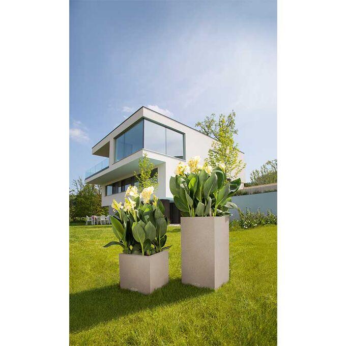 LECHUZA Canto Color 40 Επιδαπέδια Γλάστρα 40x40x40cm Αυτοποτιζόμενη Μπεζ της Άμμου με Όψη ΦΥΣΙΚΗ ΠΕΤΡΑ Γερμανίας