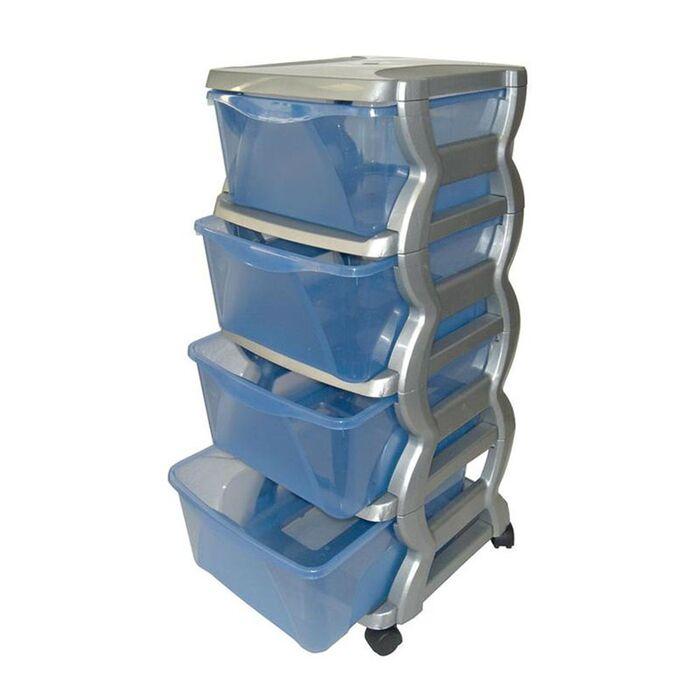 Πλαστική Συρταριέρα 36x40x80cm 4όροφη Ασημί-Μπλε Διάφανο με Ρόδες BAMA GROUP Ιταλίας